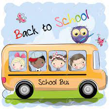 """a cartoon school bus with children inside and an owl perched on top. A caption reads, """"Back to School."""""""